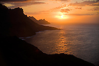The North-west coast of Gran Canaria Island at sunset. Gran Canaria Island, Canary Islands, Spain.