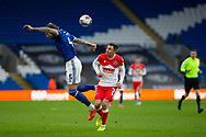 Cardiff City's Aden Flint (5) under pressure from Millwall's Jed Wallace (7) during the EFL Sky Bet Championship match between Cardiff City and Millwall at the Cardiff City Stadium, Cardiff, Wales on 30 January 2021.