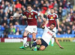 Mousa Dembele of Tottenham Hotspur (R) tackles Jeff Hendrick of Burnley - Mandatory by-line: Jack Phillips/JMP - 01/04/2017 - FOOTBALL - Turf Moor - Burnley, England - Burnley v Tottenham Hotspur - Premier League