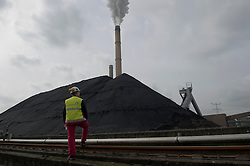 An employee stands next to a mountain of coal at the Essent Energie power station, in Geertruidenberg, Netherlands, on Monday March 22, 2010. Essent Energie is owned by RWE AG. (Photo © Jock Fistick)