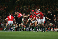 Andy Powell of Wales passing the ball. Invesco Perpetual series 2008 autumn international match, Wales v New Zealand at the Millennium Stadium on Sat 22nd Nov 2008. pic by Andrew Orchard, Andrew Orchard sports photography,