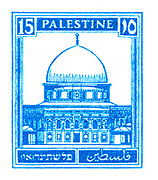 Digitally enhanced image of a Palestine (British Mandate) pre 1948 stamp. Blue Dome of the rock
