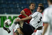 Fotball / Football<br /> European U21 Qualifying match<br /> Norway v Scotland 0-1<br /> Norge v Skottland<br /> Drammen 06.09.2005<br /> Photo: Morten Olsen, Digitalsport<br /> <br /> Øyvind Hoås NOR and Fredrikstad and Neill Collins SCO