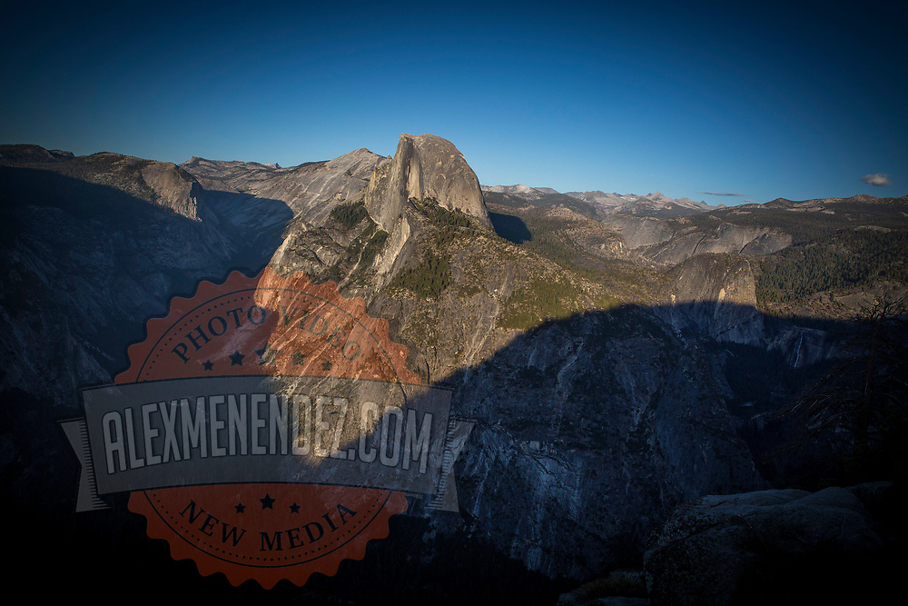 Half Dome is seen prior to sunset in this view from Glacier Point inside Yosemite National Park on Sunday, September 22, 2019 in Yosemite, California. (Alex Menendez via AP)