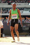 Zarck Visser of RSA in the long jump during the Sainsbury's Anniversary Games at the Queen Elizabeth II Olympic Park, London, United Kingdom on 25th July 2015. Photo by Ellie Hoad.