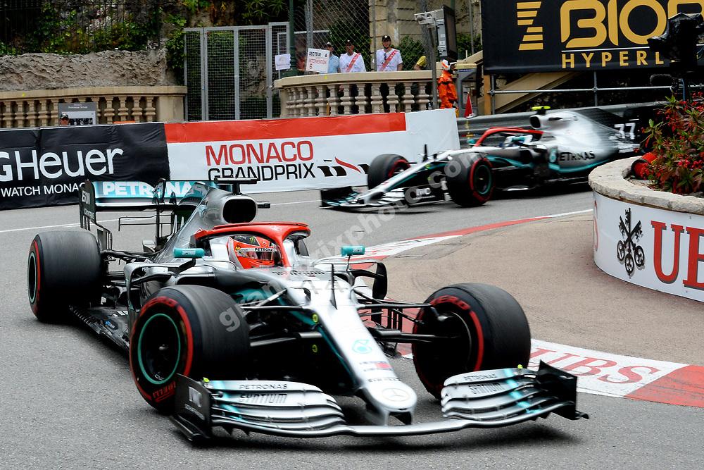 Lewis Hamilton leading teammate Valtteri Bottas (both Mercedes) during the 2019 Monaco Grand Prix. Photo: Grand Prix Photo