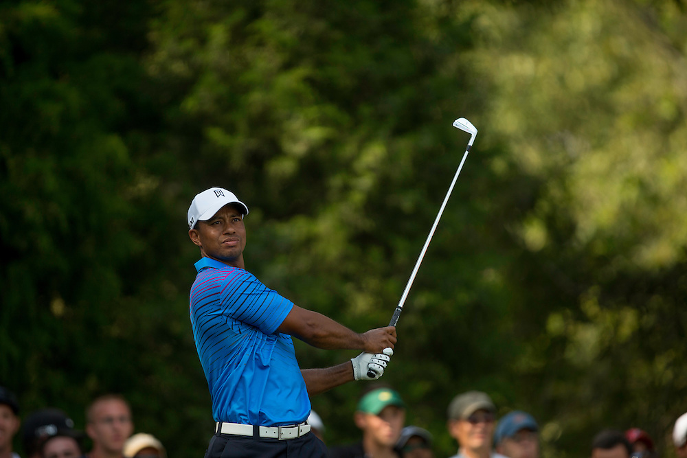 FARMINGDALE, NY - AUGUST 24:  Tiger Woods plays a tee shot during the second round of the 2012 Barclays at the Black Course at Bethpage State Park in Farmingale, New York on August 24, 2012. (Photograph ©2012 Darren Carroll) *** Local Caption *** Tiger Woods