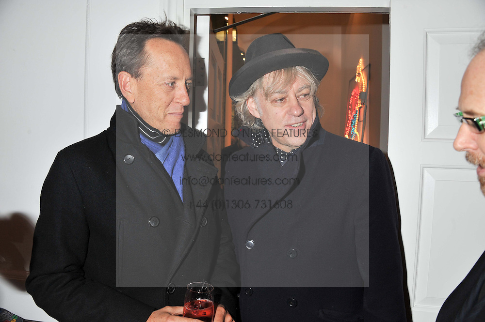 Left to right, RICHARD E GRANT and SIR BOB GELDOF at a party to celebrate the switching on of the Christmas Lights at the Stella McCartney store, Bruton Street, London on 29th November 2011.