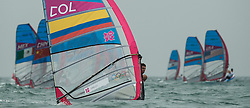 31.07.2012, Bucht von Weymouth, GBR, Olympia 2012, Windsurfen, im Bild RSX man, Quintero Andrey (COL) . EXPA Pictures © 2012, PhotoCredit: EXPA/ Juerg Kaufmann ***** ATTENTION for AUT, CRO, GER, FIN, NOR, NED, POL, SLO and SWE ONLY!