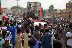 July 3, 2018 - Hyderabad, Sindh, Pakistan - Pakistan Peoples part PPP chairman Bilawal Bhutto Zardari reaches Hyderabad as he started the election campaign from Karachi last day a large number of PPP workers and supporters were there to welcome there party chairman, Bilawal Bhutto waves his hand to the party workers (Credit Image: © Jan Ali Laghari/Pacific Press via ZUMA Wire)