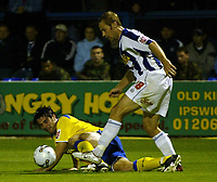 Fotball<br /> England 2005/2006<br /> Foto: SBI/Digitalsport<br /> NORWAY ONLY<br /> <br /> Colchester United v Cardiff City. Carling Cup.<br /> 24/08/2005.<br /> Alan Lee of Cardiff is flattened by Liam Chilvers of Colchester