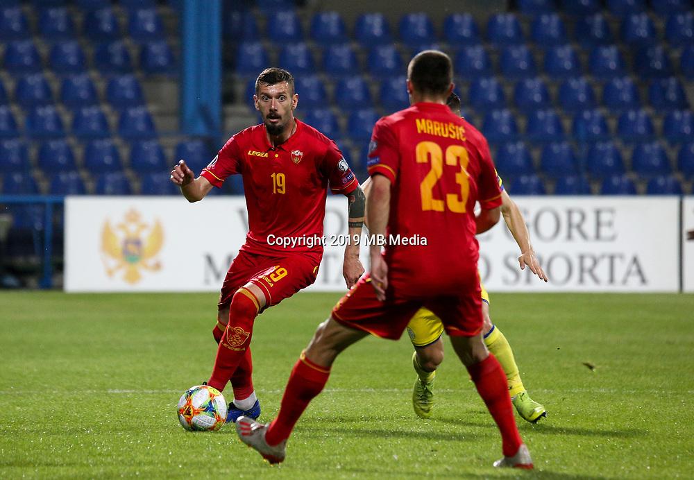 PODGORICA, MONTENEGRO - JUNE 07: Aleksandar Scekic of Montenegro during the 2020 UEFA European Championships group A qualifying match between Montenegro and Kosovo at Podgorica City Stadium on June 7, 2019 in Podgorica, Montenegro MB Media