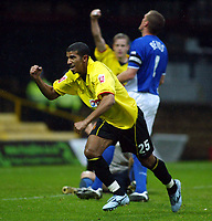 Photo. Chris Ratcliffe. <br />Watford v Ipswich. The League Championship. 23/10/2004<br />Hameur Bouazza of Watford  celebrates scoring the second goal  for Watford