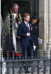 Meghan Markle and Prince Harry at the annual Service of Commemoration and Thanksgiving at Westminster Abbey, London, to commemorate Anzac Day. Photo credit should read: Doug Peters/EMPICS Entertainment