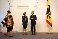 11 JAN 2005, BERLIN/GERMANY:<br /> Eva Luise Koehler, Praesidentengattin, und  Horst Koehler, Bundespraesident, waehrend dem Neujahrsempfang des Bundespraesidenten, Schloss Charlottenburg<br /> IMAGE: 20050111-01-001<br /> KEYWORDS: Bundespräsident, Flagge, Bundesadler, Horst Köhler