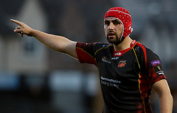 Dragons' Cory Hill in action during todays match<br /> <br /> Photographer Simon King/Replay Images<br /> <br /> Guinness PRO14 Round 1 - Dragons v Benetton Treviso - Saturday 1st September 2018 - Rodney Parade - Newport<br /> <br /> World Copyright © Replay Images . All rights reserved. info@replayimages.co.uk - http://replayimages.co.uk