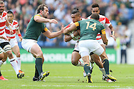 Japan's Centre Male Sau pushing forward with the ball during the Rugby World Cup Pool B match between South Africa and Japan at the Community Stadium, Brighton and Hove, England on 19 September 2015. Photo by Phil Duncan.