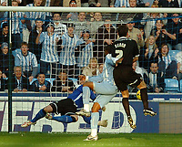 Photo: Ed Godden.<br />Coventry City v Derby County. Coca Cola Championship. 21/01/2006. <br />Stern John (C) scores for Coventry to make it 1-1.