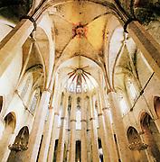 Inside Santa Maria del Mar Roman Catholic church in Barcelona, spain