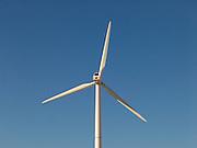 Close up of a wind turbine.