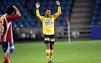 Fotball<br /> Tippeligaen Eliteserien<br /> 12.08.07<br /> Ullevaal Stadion<br /> FC Lyn Oslo - Lillestrøm LSK<br /> Khaled Mouelhi jubler etter å ha skutt fra 40 meter som endte i 4-0 scoring<br /> Foto - Kasper Wikestad