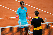 Rafael NADAL (ESP) won the match, celebration, Rafael NADAL (ESP) greeted Diego SCHWARTZMAN (ARG) during the Roland Garros 2020, Grand Slam tennis tournament, on October 9, 2020 at Roland Garros stadium in Paris, France - Photo Stephane Allaman / ProSportsImages / DPPI