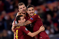 Celebrations after score of Edin Dzeko Roma, with Florenzi, Pellegrini.<br /> Roma 23-10-2018 Stadio Olimpico<br /> Football Calcio UEFA Champions League 2018/2019, Group G. <br /> AS Roma - CSKA Moscow<br /> Foto Antonietta Baldassarre / Insidefoto