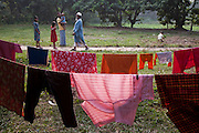 Clothes drying on washing lines in the village of Bari Majlish, an hour outside Dhaka.