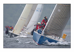 Racing at the Bell Lawrie Yachting Series in Tarbert Loch Fyne. Saturday racing started overcast but lifted throughout the day...GBR9369R Bataleur 97 , Chris Bonar's BH 36 in Class two..