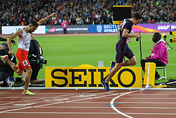London, August 08 2017 . Pierre-Ambroise Bosse, France, wins the men's 800m final ahead of Adam Kszczot, Poland, on day five of the IAAF London 2017 world Championships at the London Stadium. © Paul Davey.