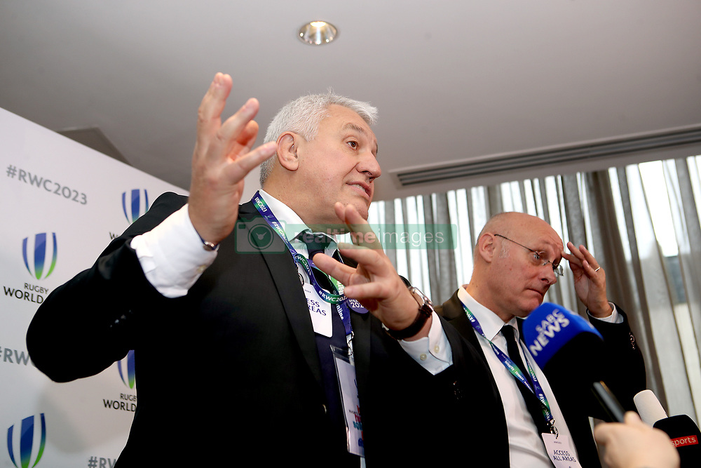 French Rugby Federation president Bernard Laporte (right) and bid president Claude Atcher (left) during the 2023 Rugby World Cup host union announcement at The Royal Garden Hotel, Kensington. PRESS ASSOCIATION Photo. Picture date: Wednesday November 15, 2017. Photo credit should read: John Walton/PA Wire. RESTRICTIONS: Editorial use only. No commercial use without prior permission.