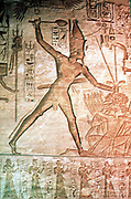 Rameses II, The Great (1304-1237 BC) captures and subdues the Hittite enemy. Limestone relief, Temple of Abu Simbel.