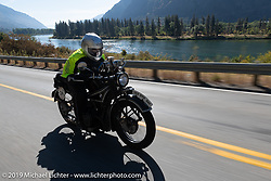Norm Nelson riding his 1928 BMW R-52 in the Motorcycle Cannonball coast to coast vintage run. Stage 13 (254 miles) Kalispell, MT to Spokane, WA. Friday September 21, 2018. Photography ©2018 Michael Lichter.