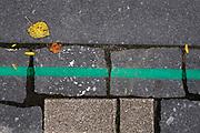 Nederland, Nijmegen, 6-10-2020  Straatbeelden van deze stad in Gelderland . De groene lijn die dwars door de stad loopt langs plaatsen van betekenis . Het moet bezoekers en toeristen makkelijker makenb een wandelroute door de stad te volgen . Foto: ANP/ Hollandse Hoogte/ Flip Franssen