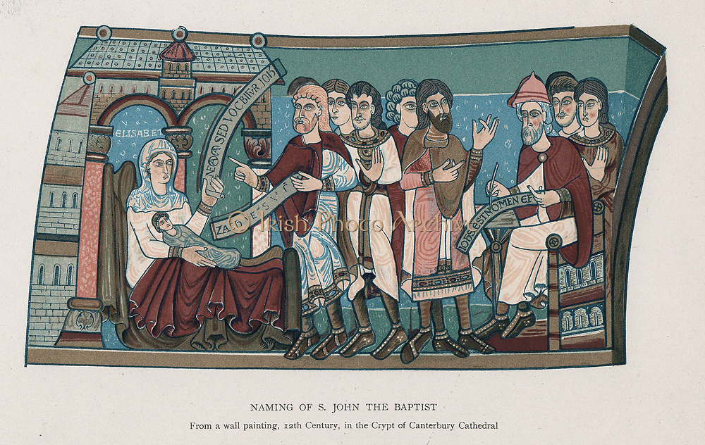 Naming of Saint John the Baptist. Lithograph after 12th century wall painting in crypt of Canterbury Cathedral, England