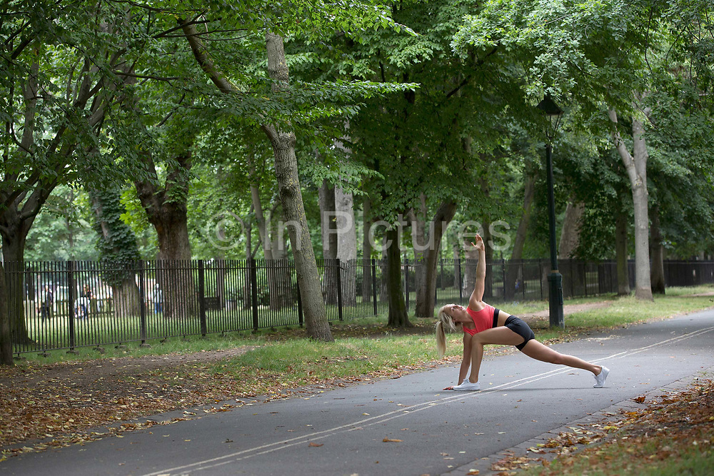 Aimee Fuller working out in Holland Parking on 13th July 2017 in London, United Kingdom.