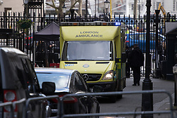 Downing Street, London, March 7th 2017. An ambulance arrives at 10 Downing Street where a staff member has apparently been taken ill.