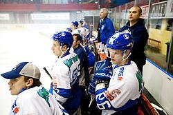 Saso Rajsar and Rok Jakopic of Medvescak (R) during ice-hockey match between HK Acroni Jesenice and KHL Medvescak Zagreb in 8th Round of EBEL league, on October 3, 2010 at Arena Podmezakla in Jesenice, Slovenia.  Acorni Jesenice defeated Medvescak 3-2. (Photo By Vid Ponikvar / Sportida.com)