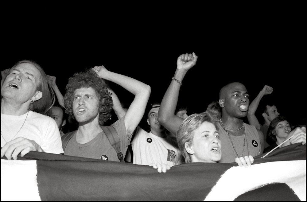 On April 28th, 1990, a pipe bomb exploded at a crowded gay bar, Uncle Charlie's, in New York City. Three people were injured. The following night 1500 people marched through the West Village to express their concern over the increasing incidence of violence directed at gay people and their outrage that the bombing was not designated a bias-related crime.<br /> <br /> Bill Monaghan, Gary Strum, Henry Baker, Idris Mignott, Debra Glick, Tom Fatsi, Heid Dorow pictured.