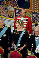 15.04.2015. Copenhagen, Denmark.King Philippe of Belgium, Queen Maxima of The Netherlands and King Carl XVI Gustaf of Sweden during a Gala Dinner at Christiansborg Palace on the eve of The 75th Birthday of Queen Margrethe of Denmark.Photo:© Ricardo Ramirez