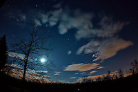 New Jersey Early Spring Night Sky with Moon and Clouds. Image taken with a Nikon 1 V2 and 10 mm f/2.8 lens + Olympus Fisheye adapter (ISO 160, 10 mm, f/2.8, 10 sec).