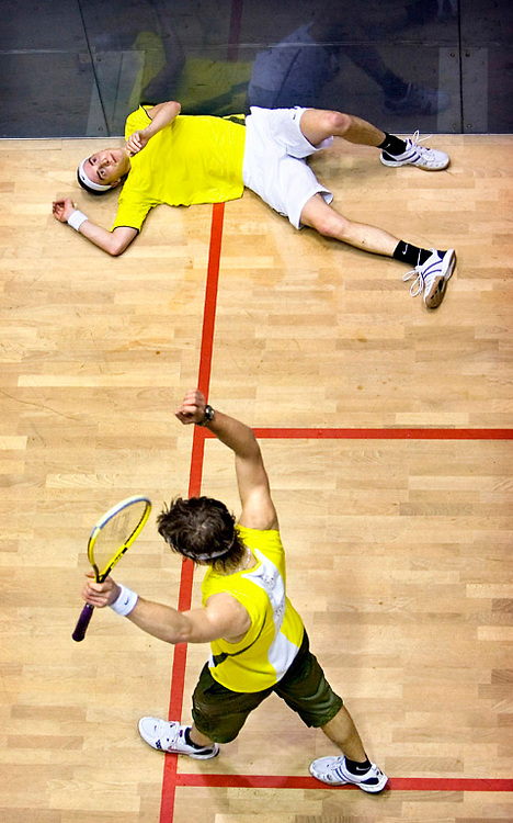 The Netherlands, Amsterdam, 18-02-2007.<br /> Squash, Men.<br /> Dutch national championships Squash, final.<br /> Laurens Jan Anjema is celebrating his victory while Dylan Bennett is disappointed laying on the floor.<br /> Photo: Klaas Jan van der Weij