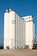 A white grain elevator in rural Scott City, Kansas.