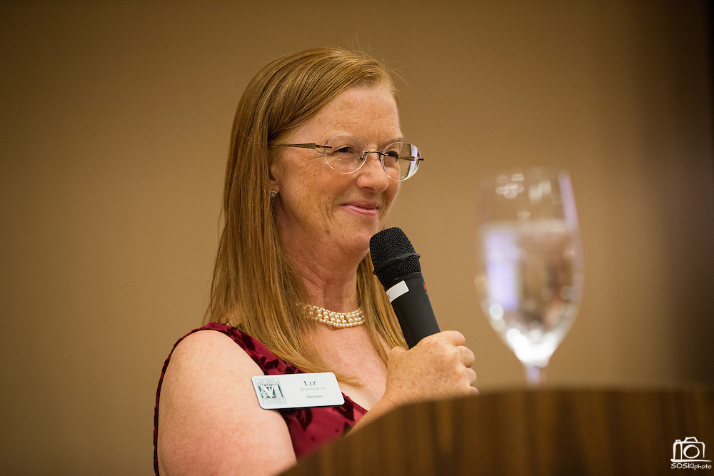 Milpitas Chamber former President and new CEO Liz Ainsworth welcomes guests to the Milpitas Chamber of Commerce  59th Annual Awards and Installation Banquet at Sheraton San Jose Hotel in Milpitas, California, on July 28, 2016. (Stan Olszewski/SOSKIphoto)