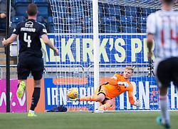 Falkirk's keeper Robbie Thomson saves. Falkirk 2 v 0 Dunfermline, Scottish Challenge Cup played 7/9/2017 at The Falkirk Stadium.
