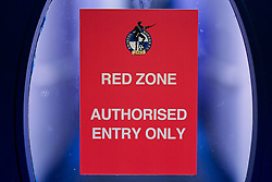 A general view of a Red Zone sign at the Memorial Stadium prior to kick off - Mandatory by-line: Ryan Hiscott/JMP - 03/11/2020 - FOOTBALL - Memorial Stadium - Bristol, England - Bristol Rovers v Peterborough United - Sky Bet League One