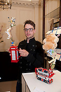 STEPHEN JOHNSON, Smythson Royal Wedding exhibition preview. Smythson together with Janice Blackburn has commisioned 5 artist designers to create their own interpretations of  Royal wedding memorabilia. Smythson. New Bond St. London. 5 April 2011.  -DO NOT ARCHIVE-© Copyright Photograph by Dafydd Jones. 248 Clapham Rd. London SW9 0PZ. Tel 0207 820 0771. www.dafjones.com.