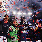 New England Revolution players celebrate their Eastern Conference Final win during the New England Revolution Vs New York Red Bulls, MLS Eastern Conference Final, second leg. Gillette Stadium, Foxborough, Massachusetts, USA. 29th November 2014. Photo Tim Clayton