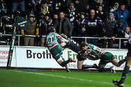 Jonathan Spratt of the Ospreys © dives over for the final try. Heineken cup rugby, pool 2, Ospreys v Leicester Tigers at the Liberty Stadium in Swansea, South Wales on Sunday 13th Jan 2013. pic by Andrew Orchard, Andrew Orchard sports photography,