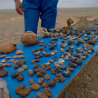 A vendor displays minerals, rocks, geodes, and purported dinosaur eggs at the Flaming Gorge in Mongolia's Gobi Desert, the site where explorer Roy Chapman Andrews first discovered dinosaur eggs.